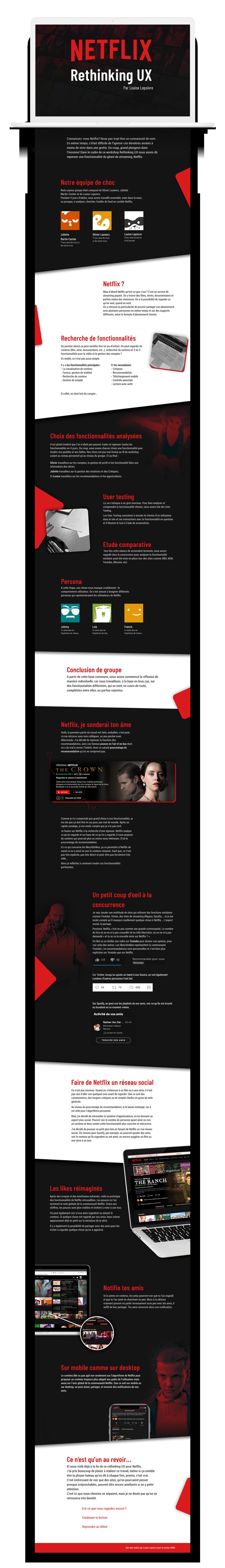 Layout de mon projet rethinking UX pour Netflix
