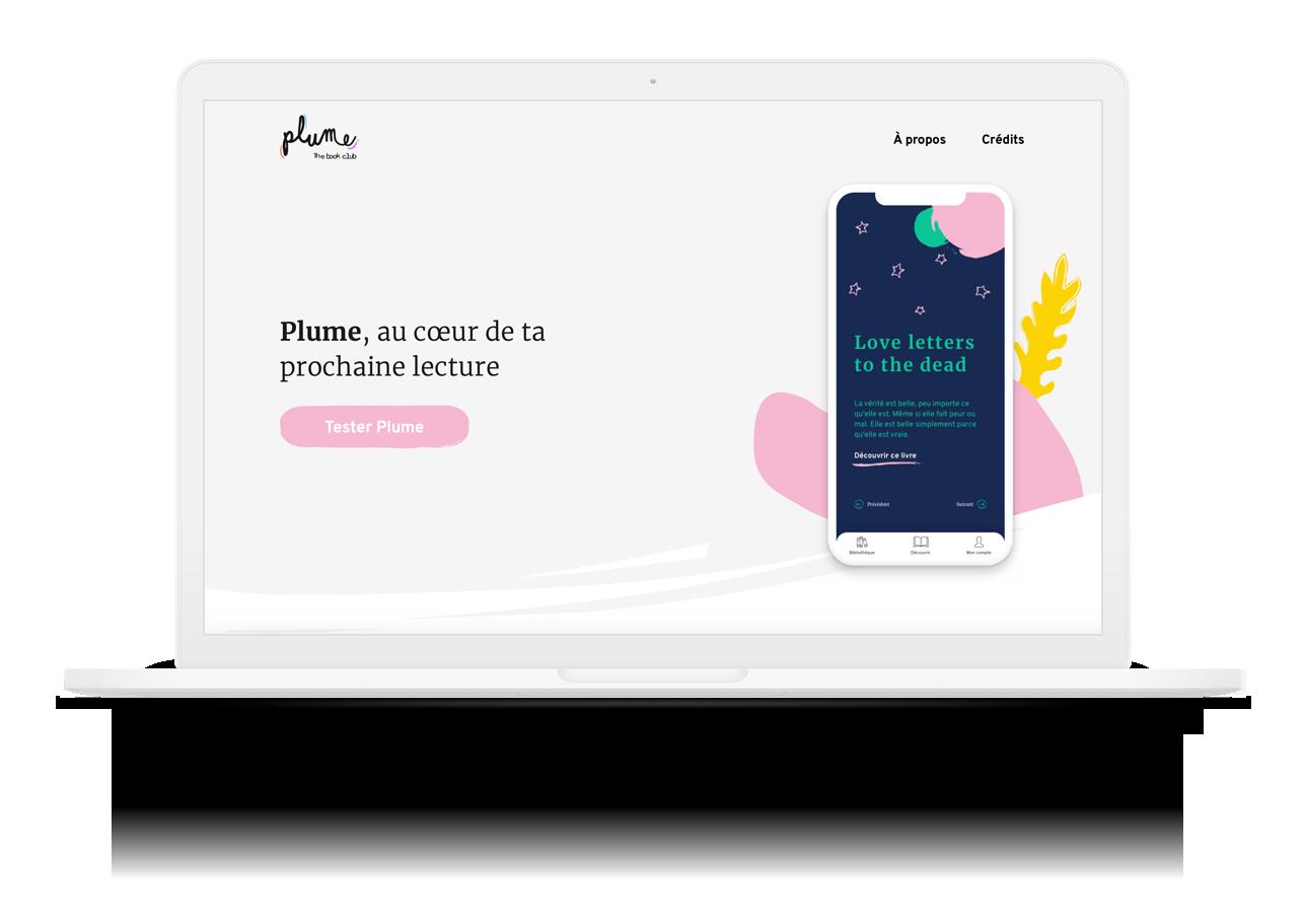 Mockup du site présentant l'application Plume