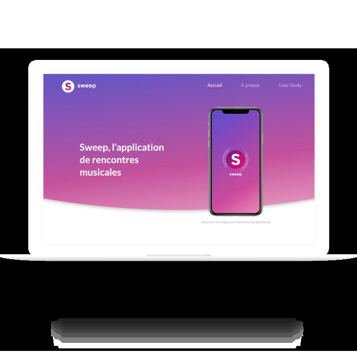 Macbook présentant la page d'accueil du site de Sweep
